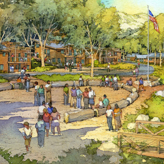 Wilshire Boulevard Temple Camps   Renderings by Al Forster